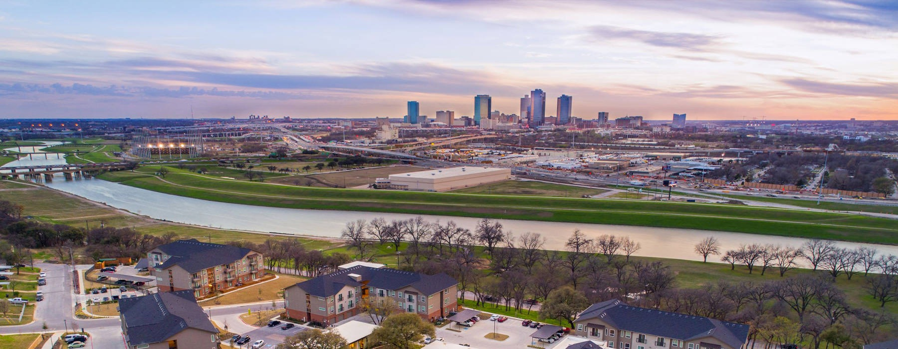 The Scenic at River East apartments with a view of downtown Fort Worth